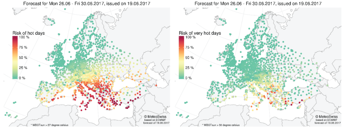 Affichage aggrandi: Figure 2: Weekly heat stress risk probabilities for hot (left, WBGT> 27 °C) and very hot (right, WBGT > 30 °C) days for different European stations. This example corresponds to the forecast for the week between 26th and 30th of June, issued on the 19th of June.