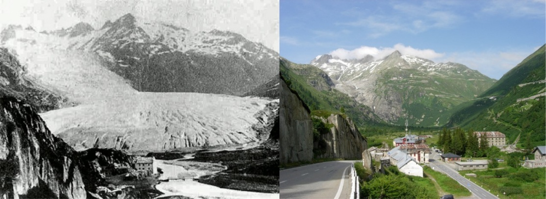 Affichage aggrandi: View from Gletsch (canton of Valais) of the Rhone Glacier in 1855/1856 and 2009